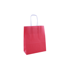 Papieren draagtas, gedraaid koord - Red (22x10x31, 90gr)