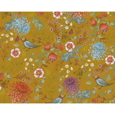 inpakpapier-Birdy-Blossom-Ochre-0117289-50cm