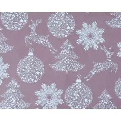 kerstpapier met zilverkleurige bomen, ballen en herten