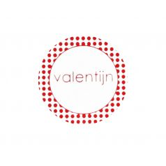 Etiket rond 'valentijn' (rood)
