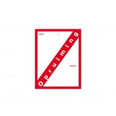 Label met ponsgat 'Opruiming'