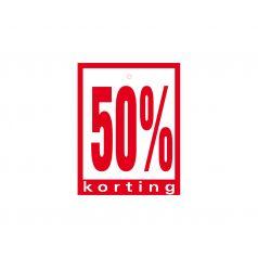 Label met ponsgat '50% korting'