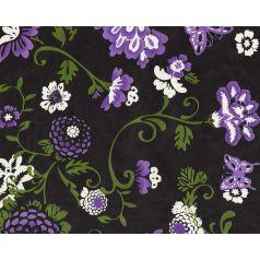 zwart cadeaupapier met paarse bloemen