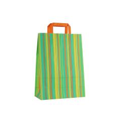 Papieren draagtas, vlakke handgrepen - Gestreept Groen (27x12x37cm, 90gr)