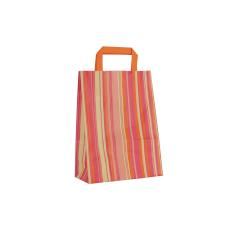 Papieren draagtas, vlakke handgrepen - Gestreept Oranje (22x10x29cm, 80gr)