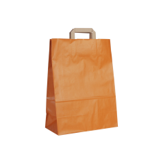 Papieren draagtas, vlakke handgrepen - Oranje (32x15x42cm, 90gr)