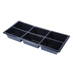 R-PET Tapas bakje - Zwart (570ml, 6-vaks)
