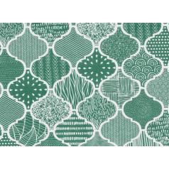 Luxe inpakpapier met een groen dessin.