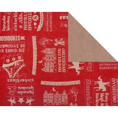 Inpakpapier - Sint Kraft Krijt Rood