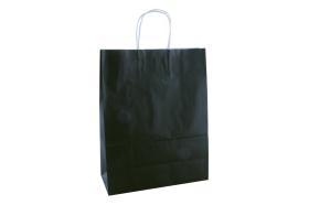 Papieren draagtas, gedraaid koord - Black (26x12x35cm, 90gr)