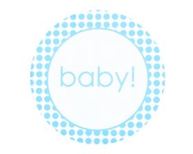 Etiket rond 'baby' (blauw)
