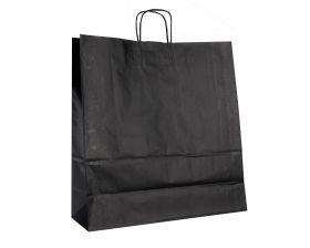 Papieren draagtas, gedraaid koord - Black (45x17x48cm, 90gr)