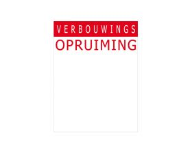Prijskaart 'Verbouwings opruiming' - Rood (12x16cm)