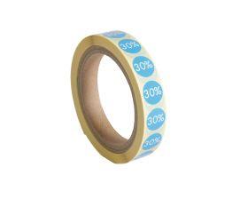 Etiket '30%' - Blauw (250st)