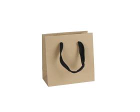 Luxe papieren draagtas - Gerecycled bruin (16x8x16+5cm, 170 gr)